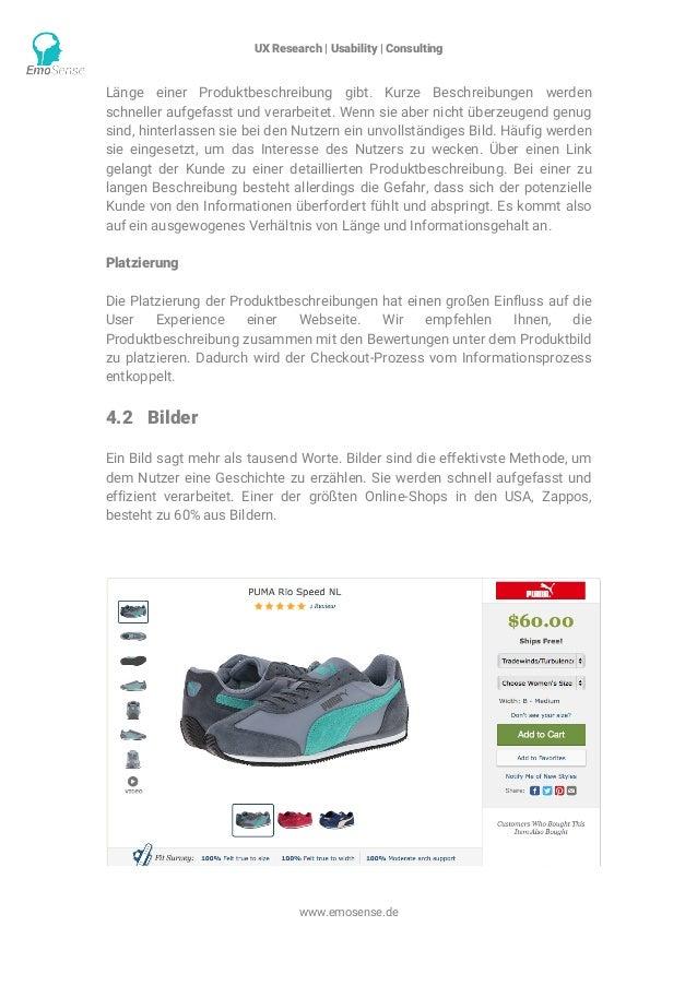 UX Research | Usability | Consulting    www.emosense.de Länge einer Produktbeschreibung gibt. Kurze Beschreibungen werde...