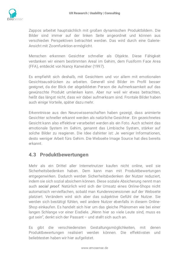 UX Research | Usability | Consulting    www.emosense.de Zappos arbeitet hauptsächlich mit großen dynamischen Produktbild...