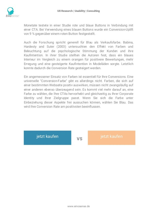 UX Research | Usability | Consulting    www.emosense.de Monetate testete in einer Studie rote und blaue Buttons in Verbi...