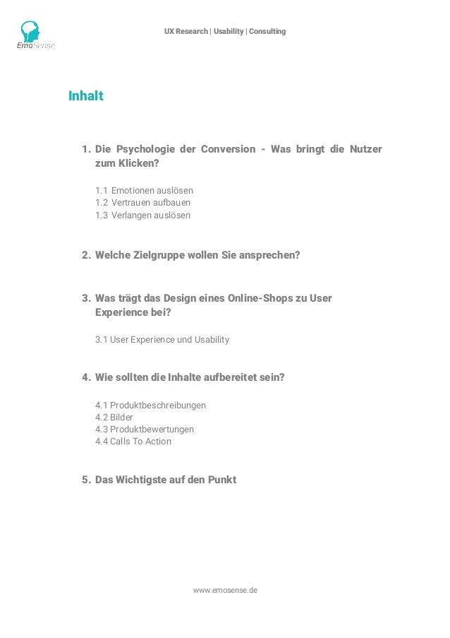 UX Research | Usability | Consulting    www.emosense.de Inhalt 1. Die Psychologie der Conversion - Was bringt die Nutzer...