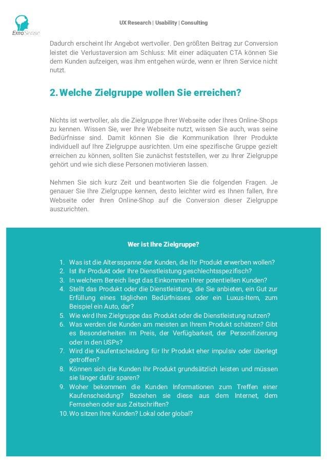 UX Research | Usability | Consulting    www.emosense.de Dadurch erscheint Ihr Angebot wertvoller. Den größten Beitrag zu...