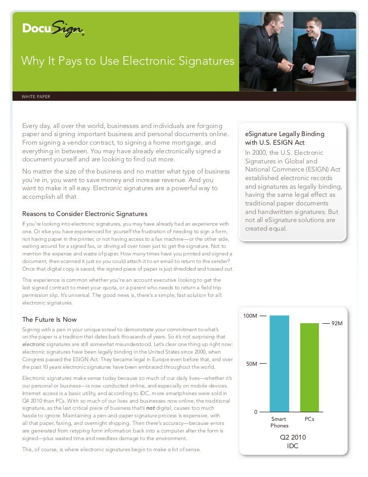 Why It Pays to Use Electronic SignaturesWHITE PAPER                                                                       ...