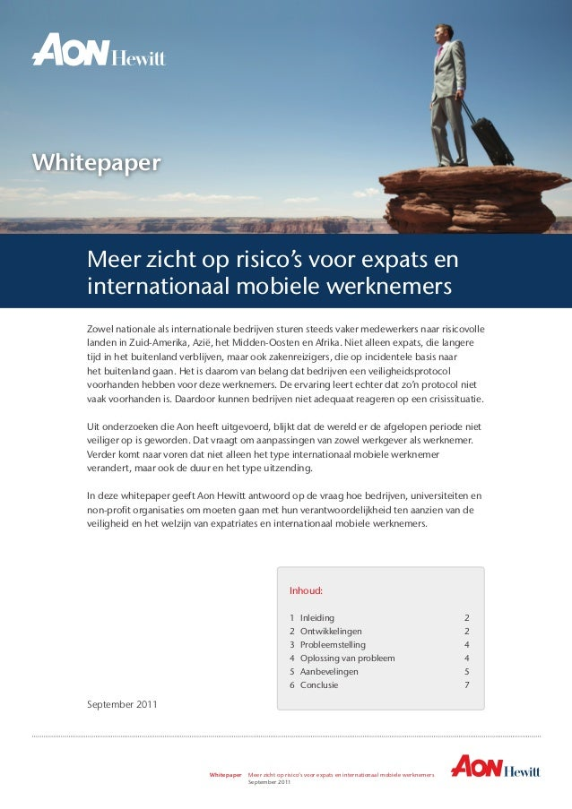 Whitepaper Meer zicht op risico's voor expats en internationaal mobiele werknemers   September 2011 Whitepaper Zowel na...