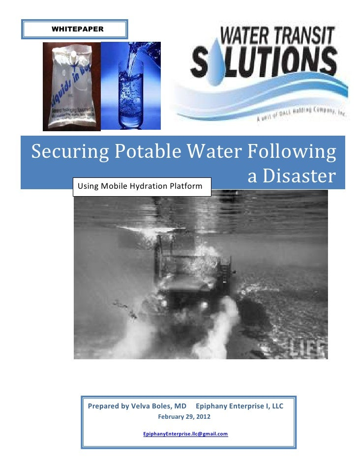 WHITEPAPERSecuring Potable Water Following     Using Mobile Hydration Platform                                     a Disas...