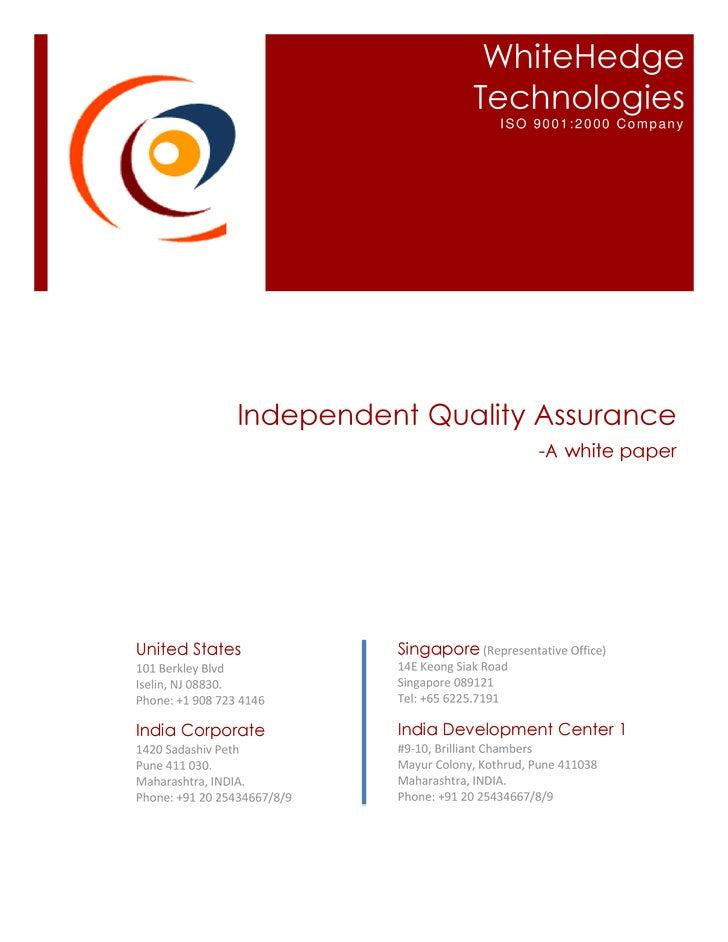 WhiteHedge                                           Technologies                                               ISO 9001:2...