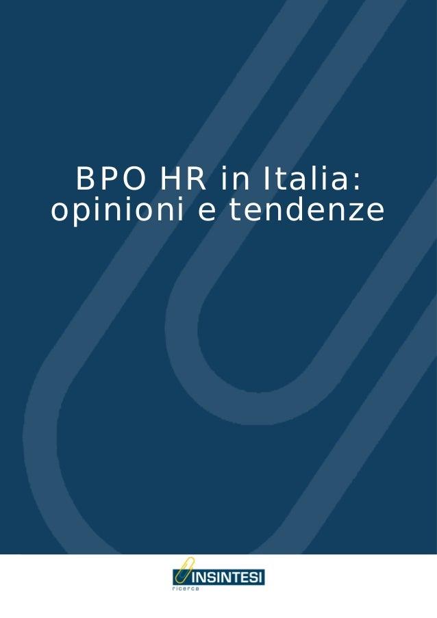 BPO HR in Italia:opinioni e tendenze