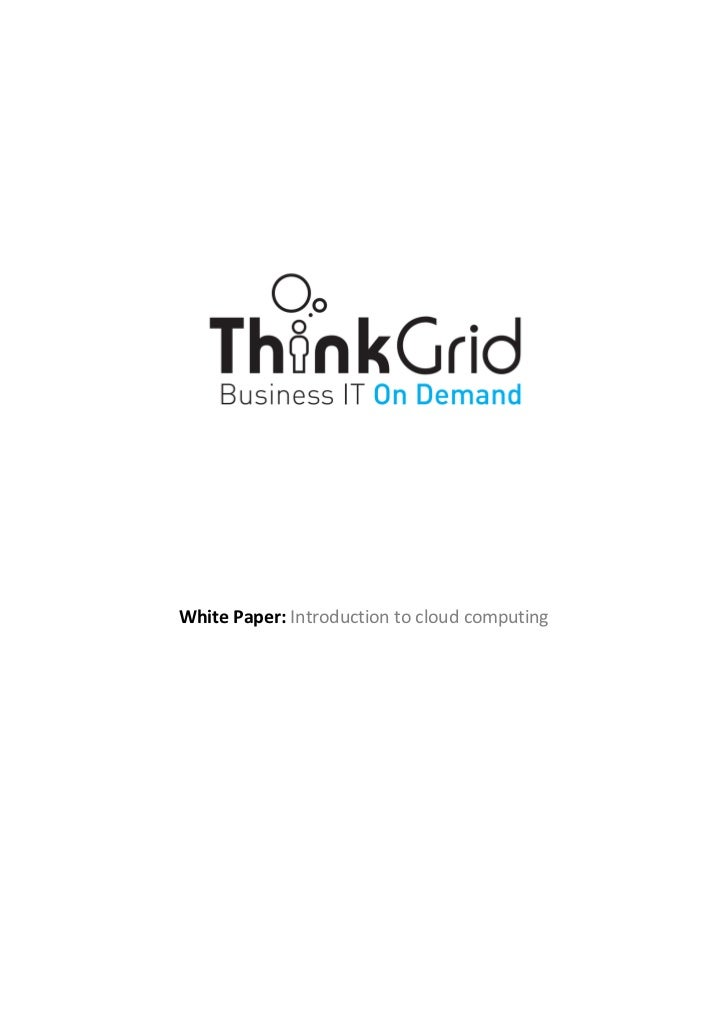 White Paper: Introduction to cloud computing