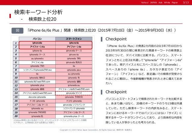 Yahoo! JAPAN Ads White PaperYahoo! JAPAN Ads White Paper 検索キーワード分析 - 検索数上位20 ※Yahoo!検索における各デバイス(パソコン/スマートフォン/タブレット)の検索 ※アダ...