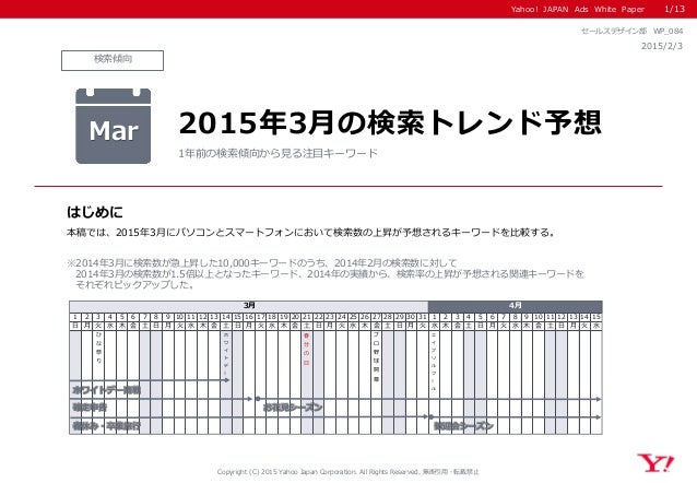 Yahoo! JAPAN Ads White Paper 検索傾向 はじめに Copyright (C) 2015 Yahoo Japan Corporation. All Rights Reserved. 無断引用・転載禁止 2015/2/3...