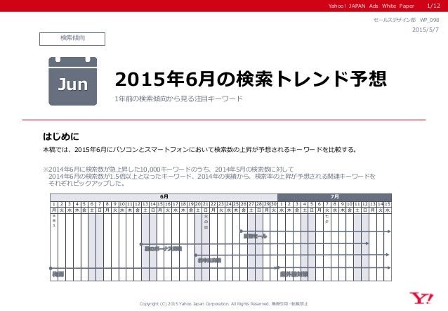 Yahoo! JAPAN Ads White Paper 検索傾向 はじめに Copyright (C) 2015 Yahoo Japan Corporation. All Rights Reserved. 無断引用・転載禁止 2015/5/7...