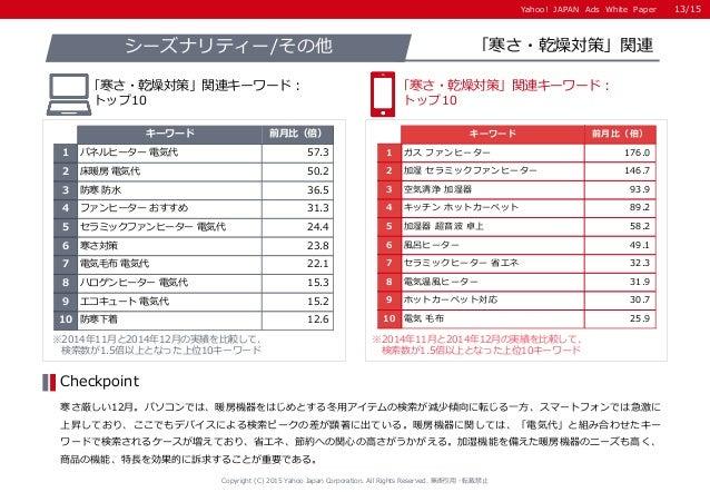 Yahoo! JAPAN Ads White PaperYahoo! JAPAN Ads White Paper ※2014年11月と2014年12月の実績を比較して、 検索数が1.5倍以上となった上位10キーワード ※2014年11月と201...