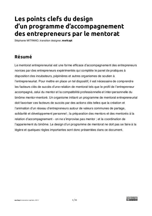 !Les points clefs du designd'un programme d'accompagnementdes entrepreneurs par le mentoratStéphanie MITRANO, transition d...