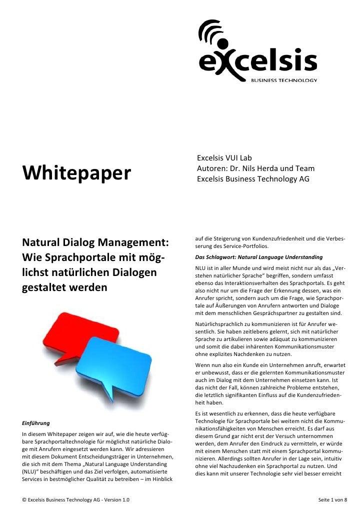 Excelsis VUI Lab  Whitepaper                                                      Autoren: Dr. Nils Herda und Team        ...