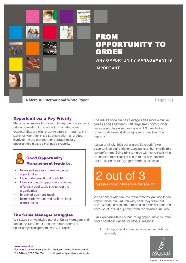 Opportunity to Order - a Mercuri International White Paper