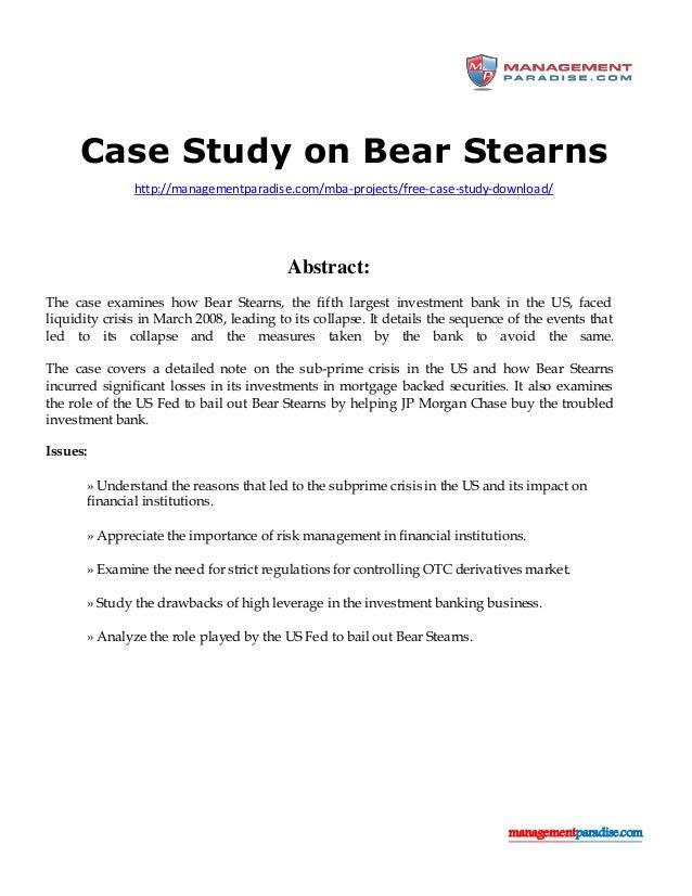 01 Bear Stearns Case Study - World Bank