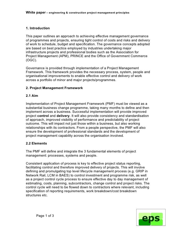 project management 9 essay Write an essay on project management plan project management plan enables the project managers to plan the entire project effectively, by considering various elements of the project here, in this report, an example project is considered to review and analyse the project management plan implemented.