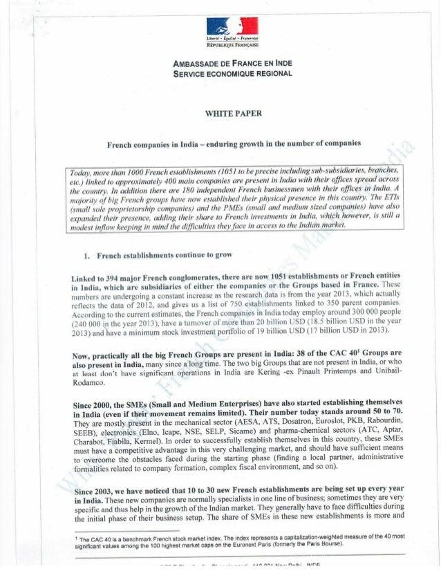 . 1.  Ltbcrul - tgauu - Frnurnizl Rtrunuquz FIIANCAISE  AMBASSADE DE FRANCE EN INDE SERVICE ECONOMIQUE REGIONAL  WHITE PAP...