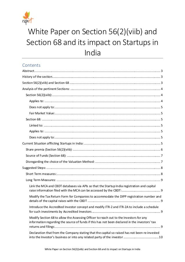 White Paper on Section 56(2)(viib) and Section 68 and its impact on Startups in India White Paper on Section 56(2)(viib) a...