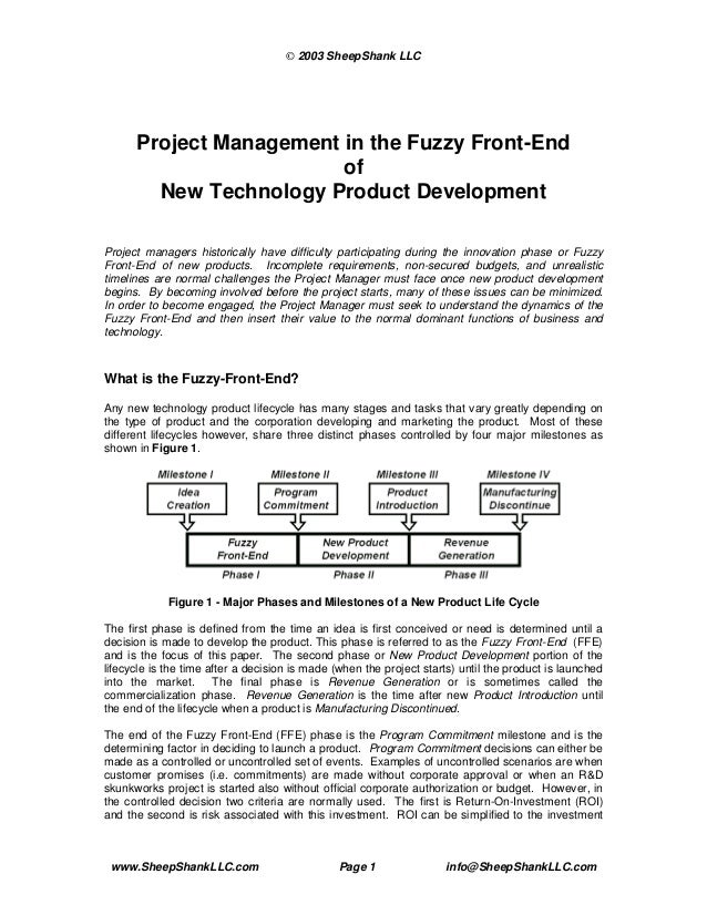 © 2003 SheepShank LLC      Project Management in the Fuzzy Front-End                         of        New Technology Prod...