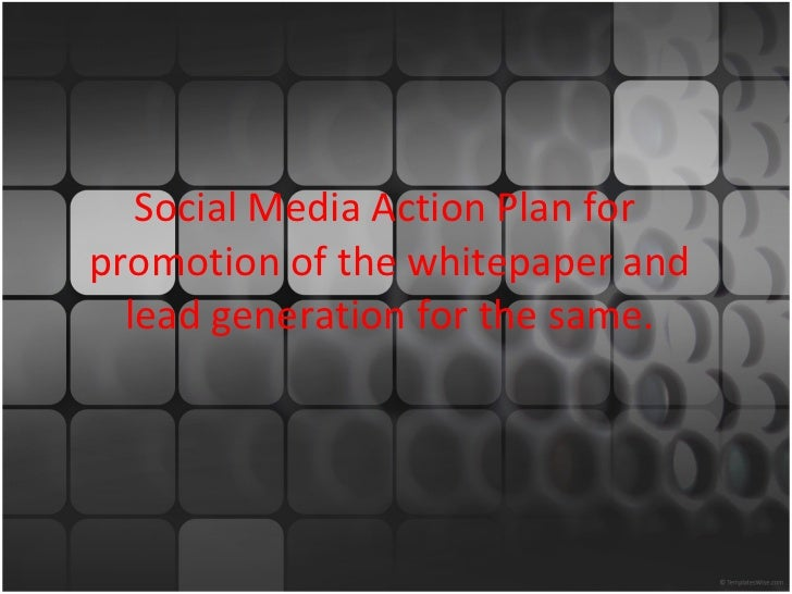 Social Media Action Plan for  promotion of the whitepaper and lead generation for the same.
