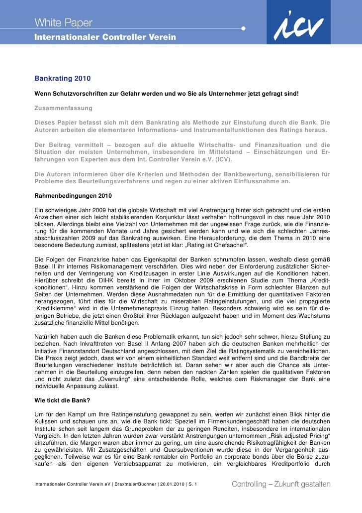 Bankrating 2010 Wenn Schutzvorschriften zur Gefahr werden und wo Sie als Unternehmer jetzt gefragt sind!  Zusammenfassung ...