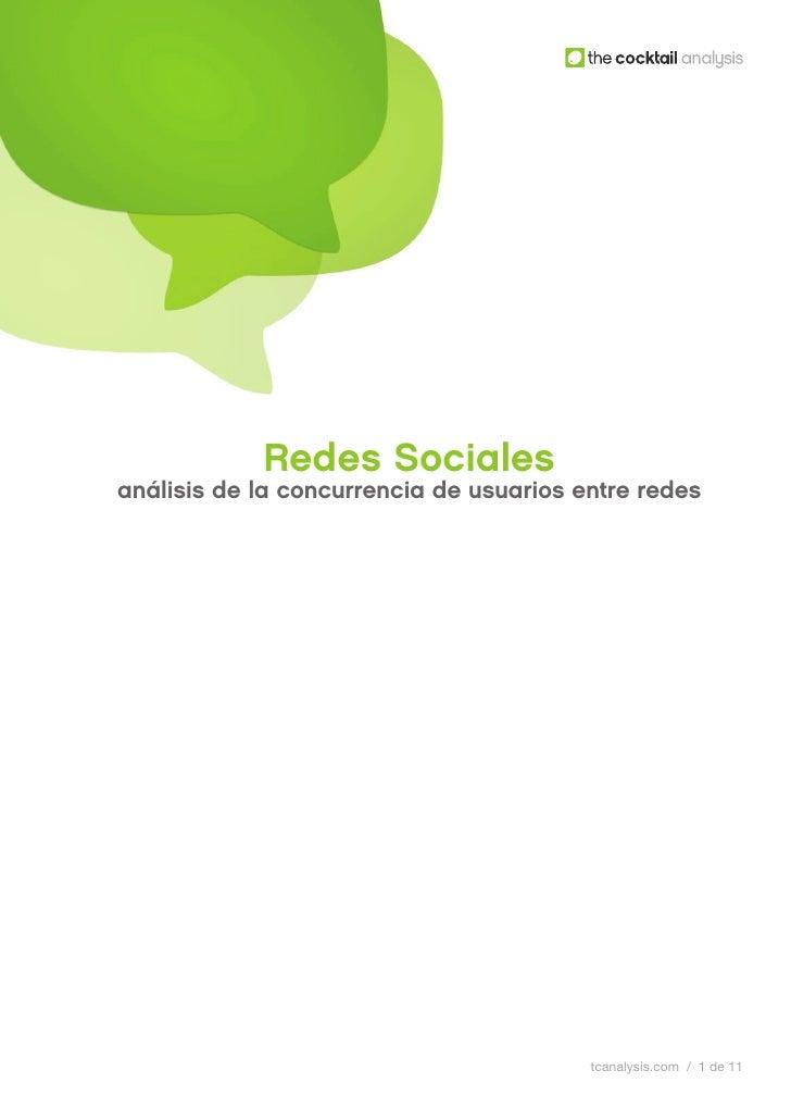 Redes Socialesanálisis de la concurrencia de usuarios entre redes                                         tcanalysis.com /...