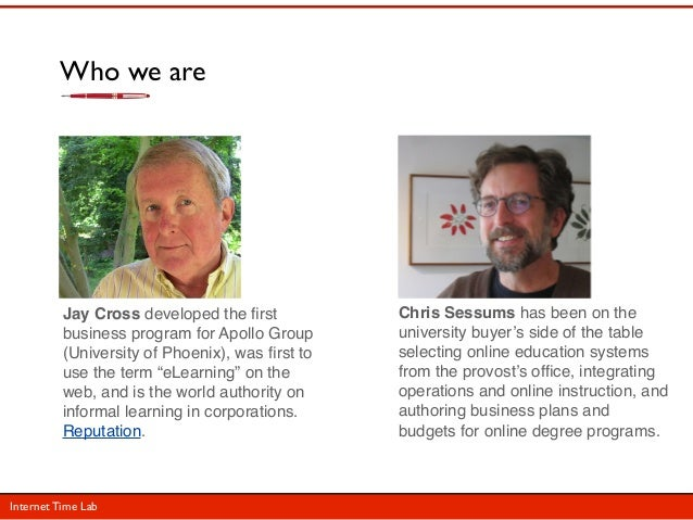 Who we are          Jay Cross developed the first           Chris Sessums has been on the          business program for Apo...