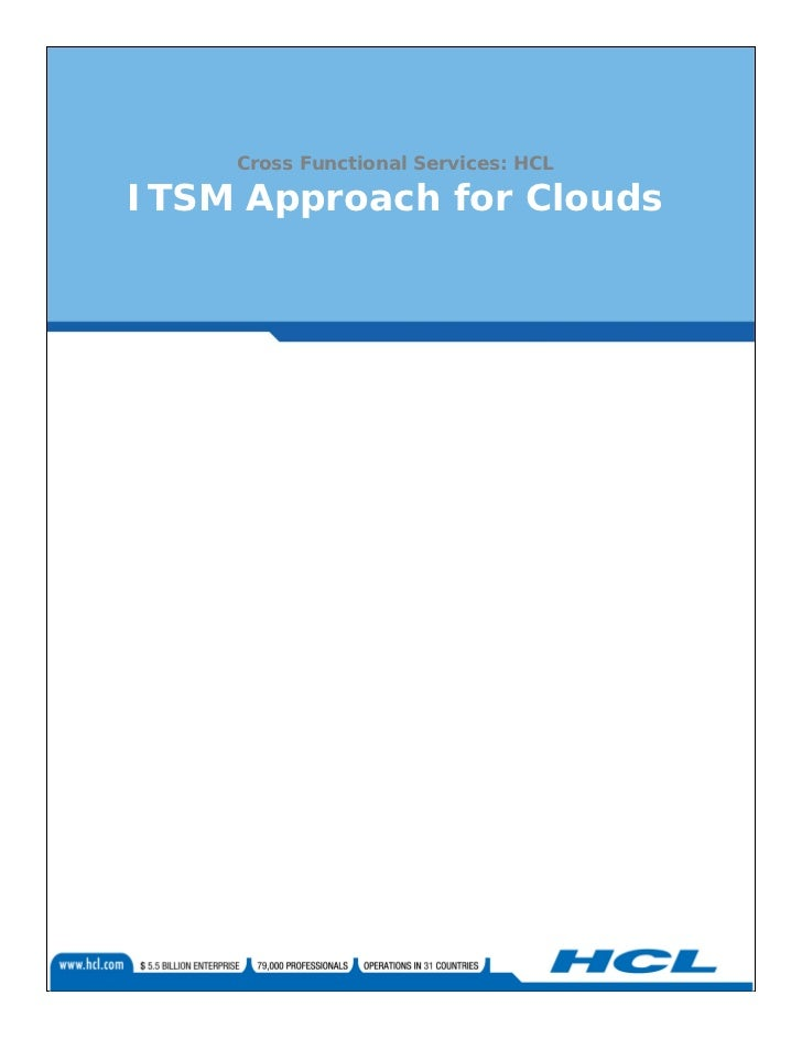 Cross Functional Services: HCLITSM Approach for Clouds