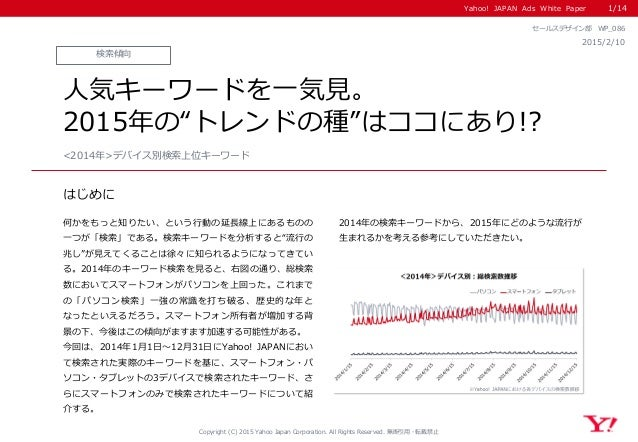 Yahoo! JAPAN Ads White Paper はじめに Copyright (C) 2015 Yahoo Japan Corporation. All Rights Reserved. 無断引用・転載禁止 検索傾向 2015/2/1...
