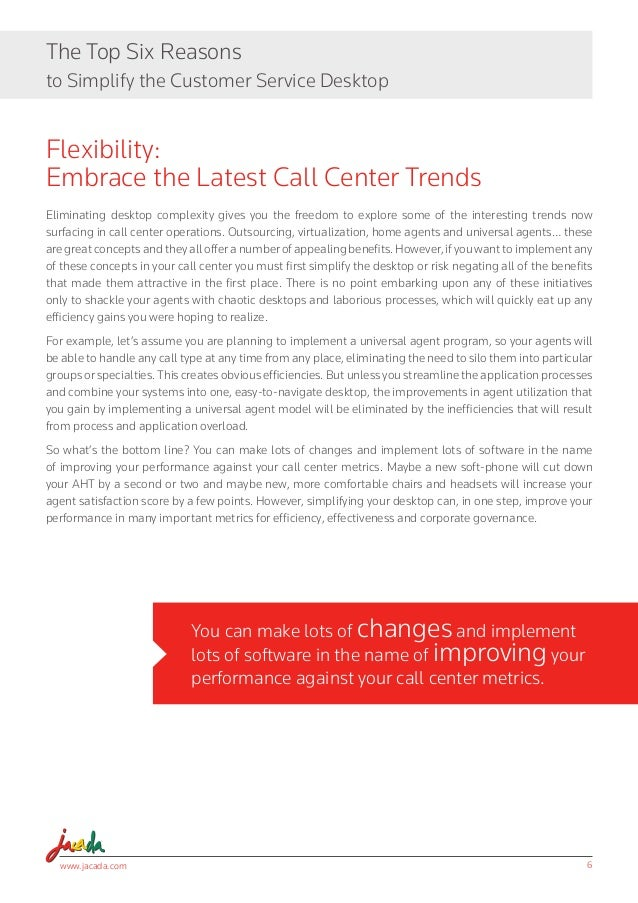 www.jacada.com 6 The Top Six Reasons to Simplify the Customer Service Desktop You can make lots of changes and implement l...