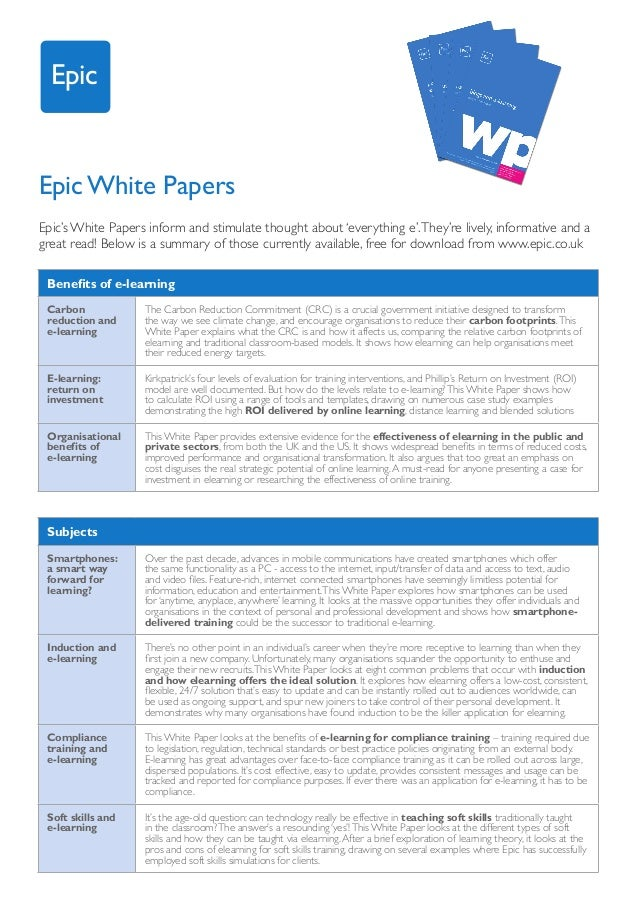 EpicEpic White PapersEpic's White Papers inform and stimulate thought about 'everything e'. They're lively, informative an...