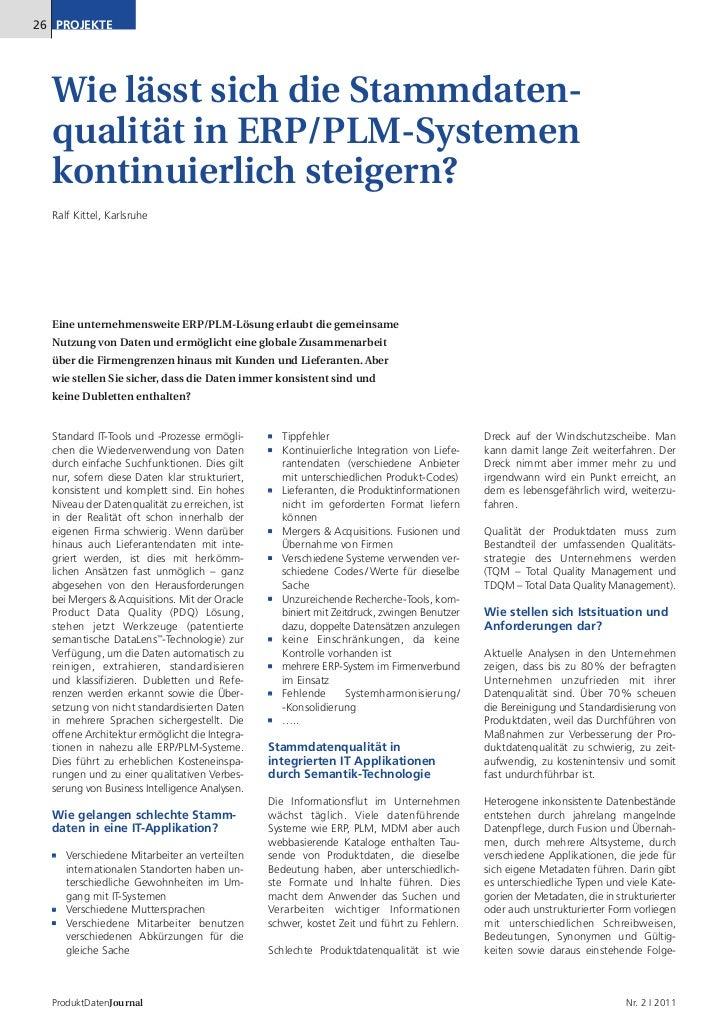 26 PROJEKTE  Wie lässt sich die Stammdaten-  qualität in ERP/PLM-Systemen  kontinuierlich steigern?  Ralf Kittel, Karlsruh...