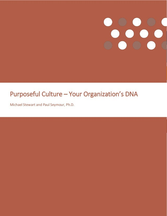 Page | 1 Purposeful Culture – Your Organization's DNA ©2016 Work Effects Purposeful Culture – Your Organization's DNA Mich...