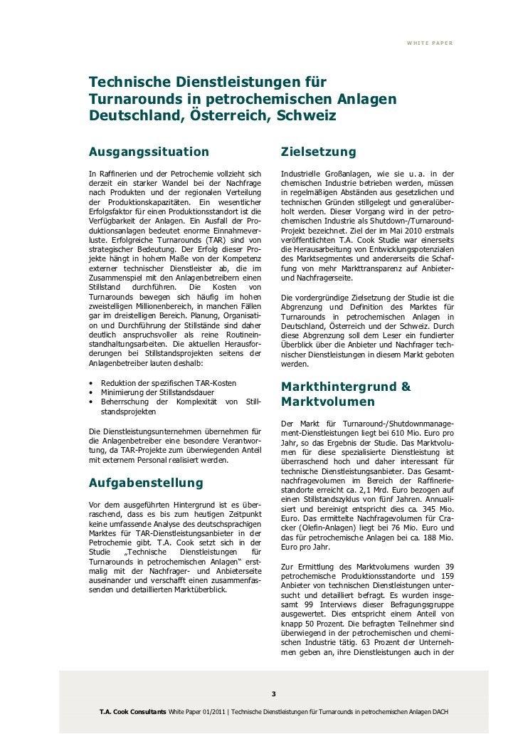 WHITE PAPERTechnische Dienstleistungen fürTurnarounds in petrochemischen AnlagenDeutschland, Österreich, SchweizAusgangssi...