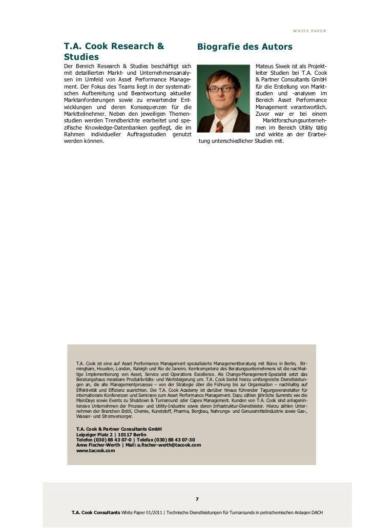 WHITE PAPERT.A. Cook Research &                                             Biografie des AutorsStudiesDer Bereich Researc...