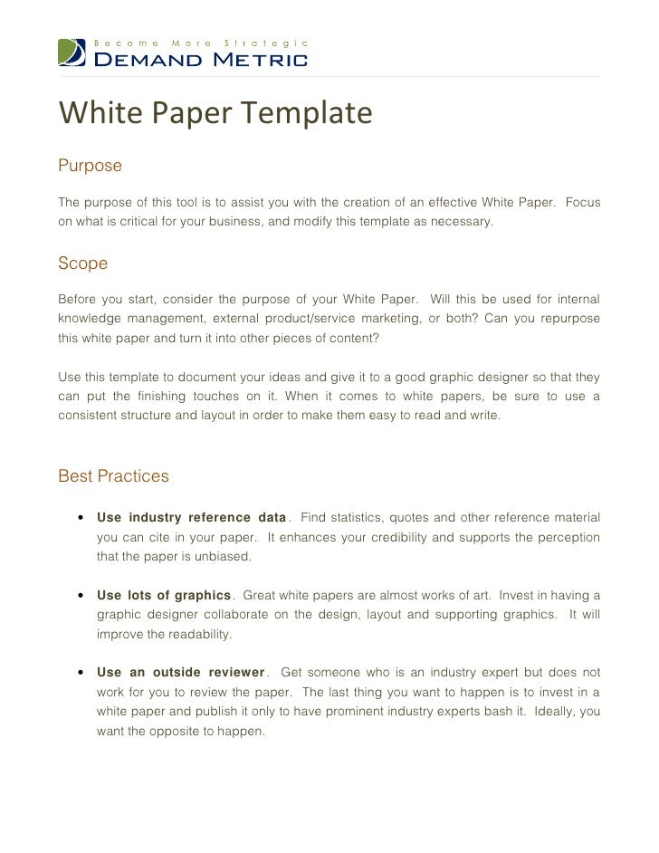 White Paper TemplatePurposeThe Purpose Of This Tool Is To Assist You With  The Creation Of An ...  Free White Paper Templates