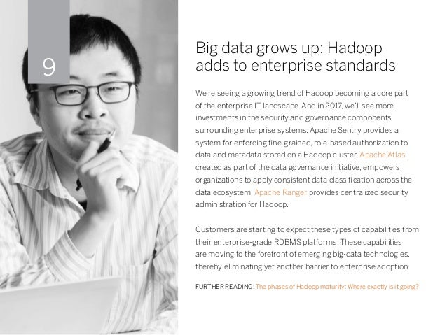 Big data grows up: Hadoop adds to enterprise standards We're seeing a growing trend of Hadoop becoming a core part of the ...