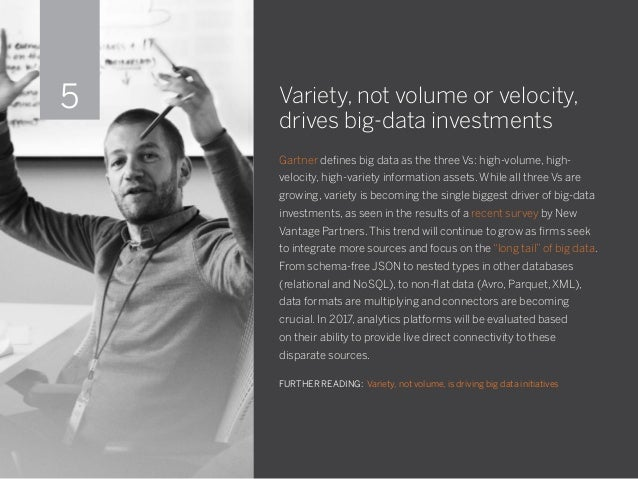 Variety, not volume or velocity, drives big-data investments Gartner defines big data as the three Vs: high-volume, high- ...