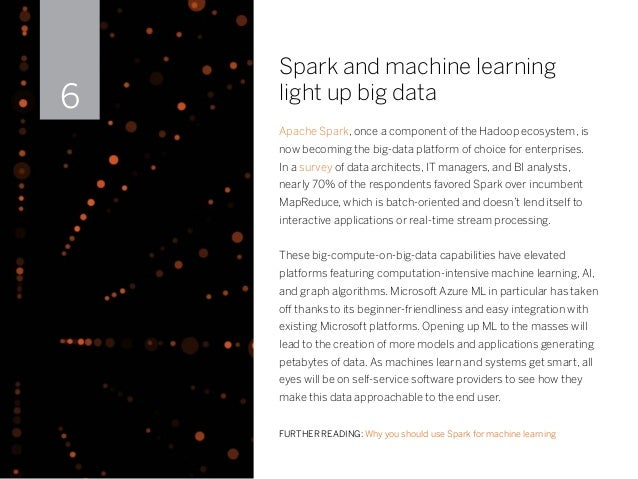 Spark and machine learning light up big data Apache Spark, once a component of the Hadoop ecosystem, is now becoming the b...