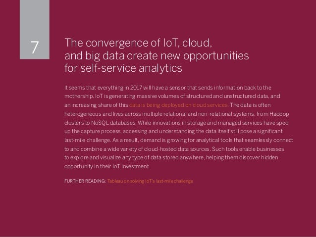 The convergence of IoT, cloud, and big data create new opportunities for self-service analytics It seems that everything i...