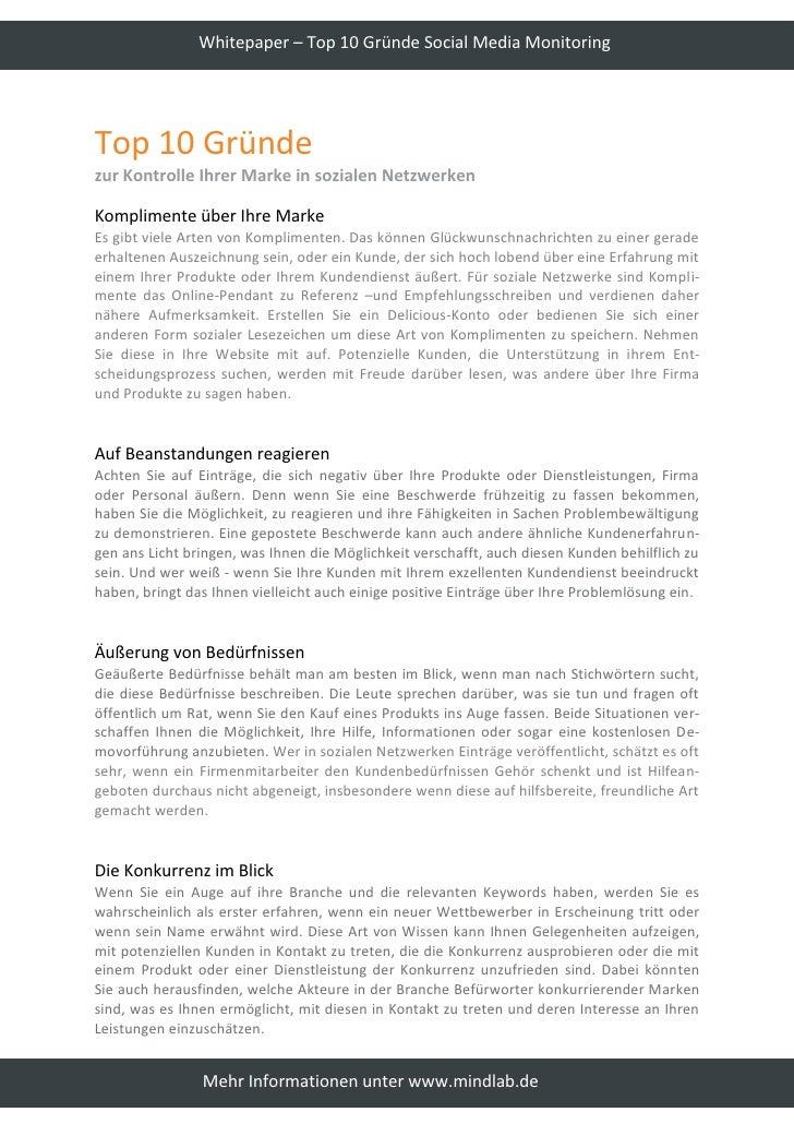 Whitepaper – Top 10 Gründe Social Media Monitoring     Top 10 Gründe zur Kontrolle Ihrer Marke in sozialen Netzwerken  Kom...