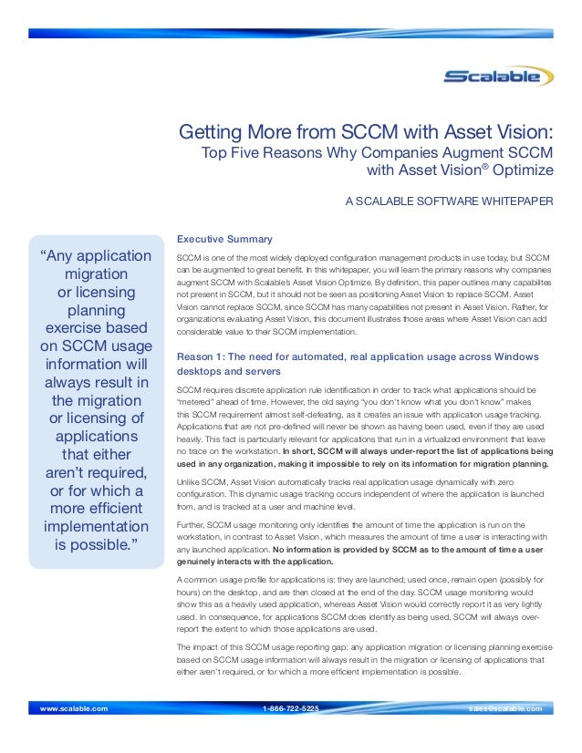 Getting More from SCCM with Asset Vision: Top Five Reasons Why Companies Augment SCCM with Asset Vision® Optimize A SCALAB...