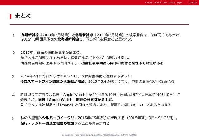 Yahoo! JAPAN Ads White Paper まとめ Copyright (C) 2015 Yahoo Japan Corporation. All Rights Reserved. 無断引用・転載禁止 1 九州新幹線(2011年3...