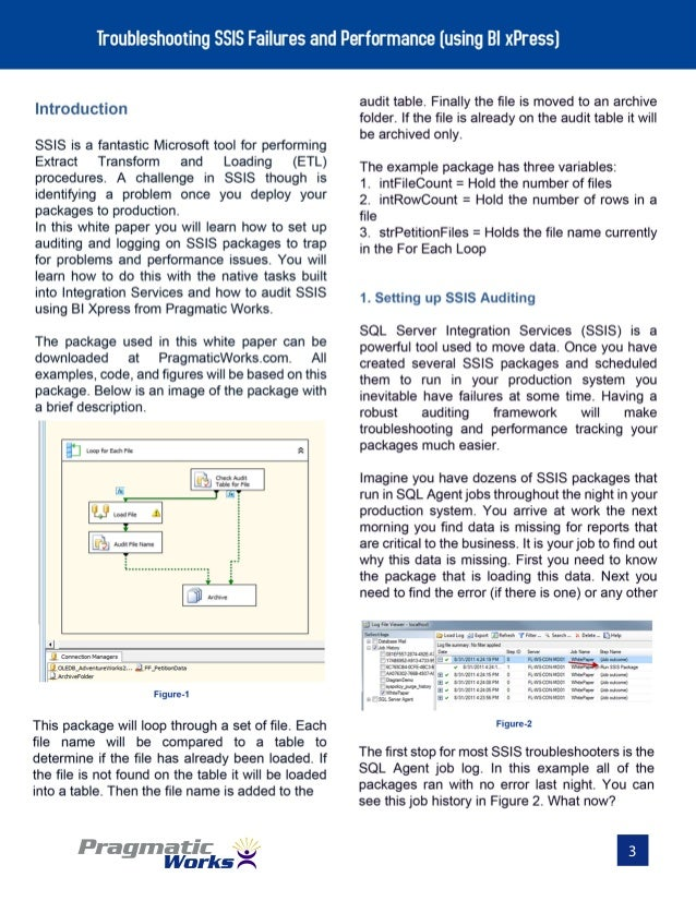 Whitepaper Troubleshooting SSIS Failures and Performance