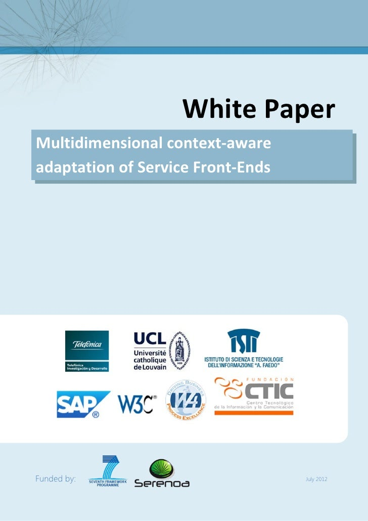 Multidimensional context-aware adaptation of Service Front-ends   FP7 Serenoa Project                                     ...