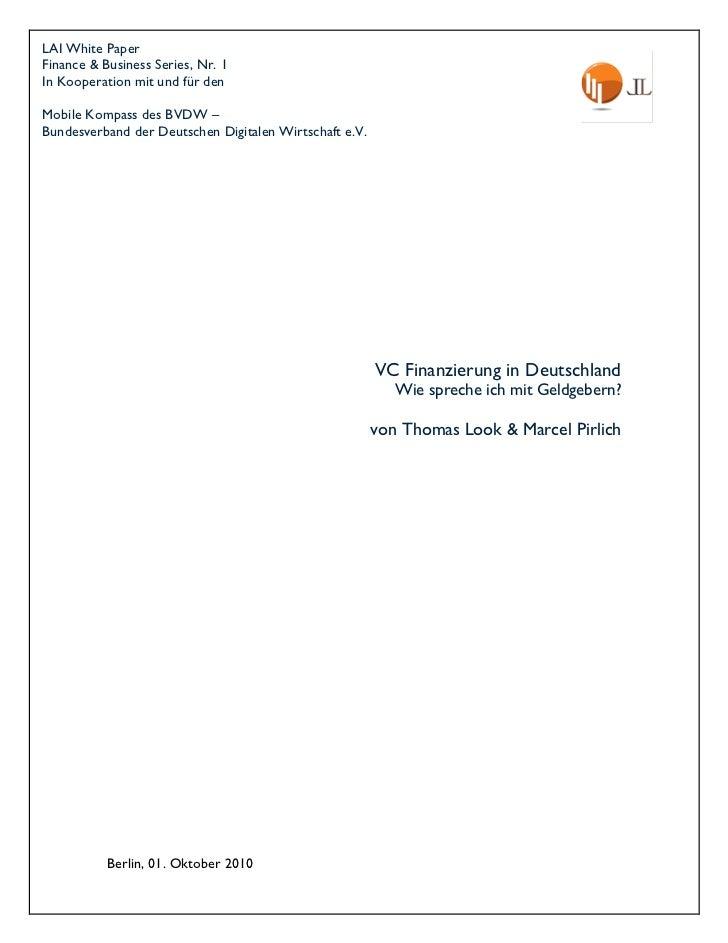 VC Finanzierung in Deutschland
