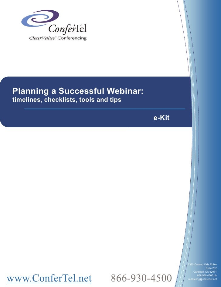 Planning a Successful Webinar:  timelines, checklists, tools and tips                                            e-Kit    ...
