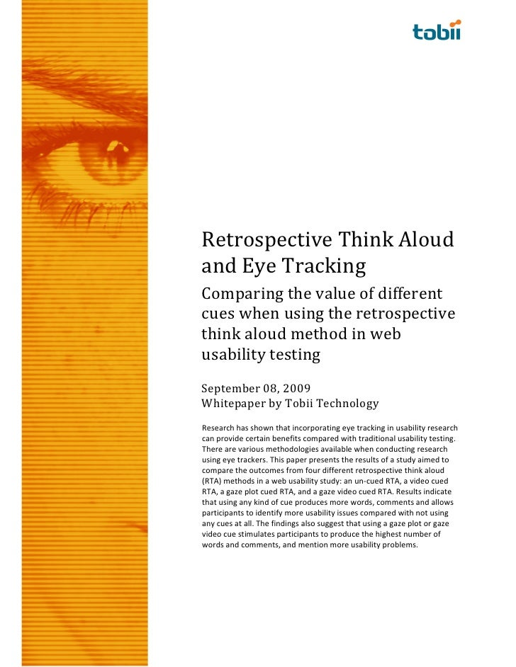 Retrospective Think Aloud and Eye Tracking Comparing the value of different cues when using the retrospective think aloud ...
