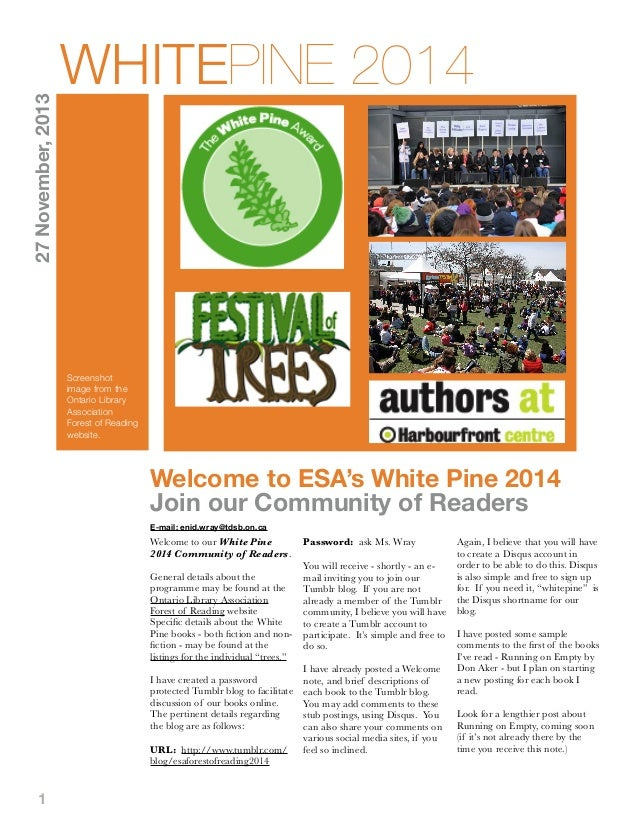 27 November, 2013  WHITEPINE 2014  Screenshot image from the Ontario Library Association Forest of Reading website.  Welco...