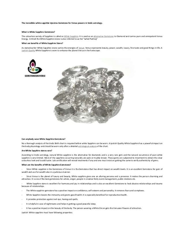 White Sapphire Jyotish Gemstone Gem Therapy Vedic Astrology